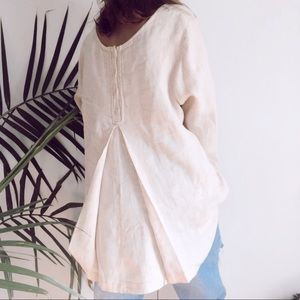 Flax • linen beige button down tunic top medium